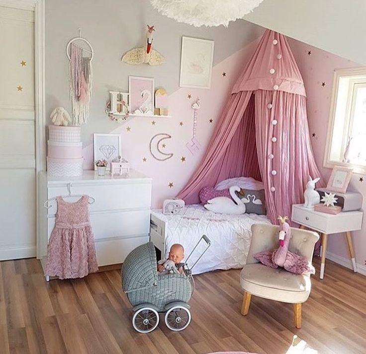 Beautiful Pink Canopy In This Little Girls Bedroom