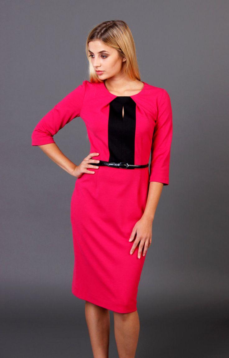 Pencil fuchsia dress, Black and fuchsia combo dress, Bright pink pencil dress, Bodycon bright dress by Cultofdress on Etsy
