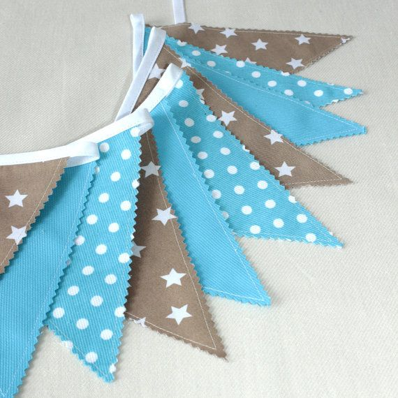 Blue Bunting Fabric Garland Flags Banner Blue by PopelineDeco