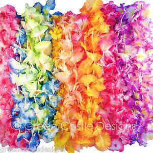 100 pc Hawaiian Lei Jumbo Silk Flower Party Favor Lot Beach Tropical Wedding