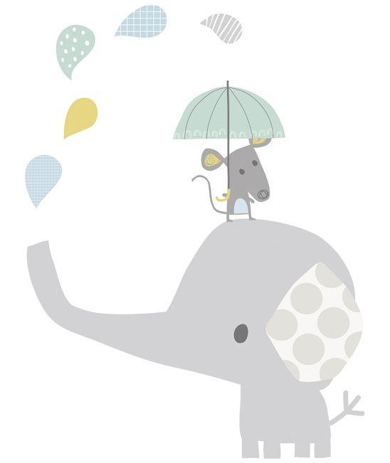 Vinilo de pared cuarto de bebe elefante gris