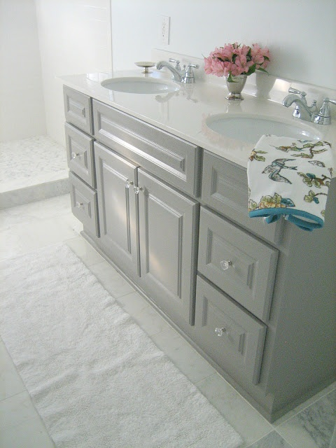 paint your builder basic vanity gray and give it a marble countertop ...