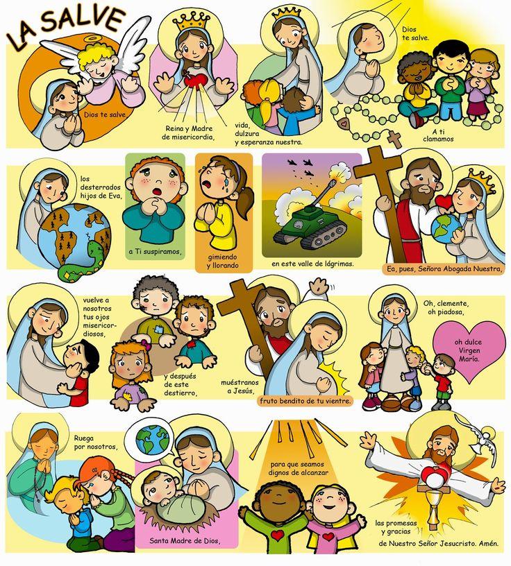 Oración de La Salve     Dios te salve, Reina y Madre de misericordia,  vida, dulzura y esperanza nuestra.  Dios te salve.  A Tí clam...