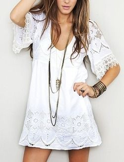 white dress: Summer Dresses, Fashion, Style, Clothing, Boho Dresses, Outfit, White Lace Dresses, Long Necklaces, Little White Dresses