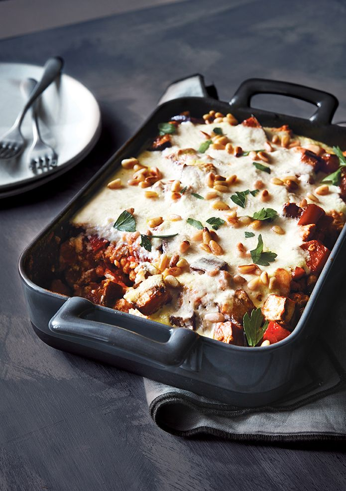 Make a Lighter Baked Chicken Moussaka In 30 Minutes | This Greek dish is similar to lasagna, but it's traditionally layered with eggplant, tomatoes, ground beef or lamb, and a béchamel sauce. Our lightened version for the Cooking Light Diet calls for ground chicken, using a mix of light and dark meat for added richness, and a yogurt-based sauce. Brown the chicken well; most of the rich, meaty flavor comes from that step. Serve the casserole with a Greek salad and toasted whole-wheat pita.