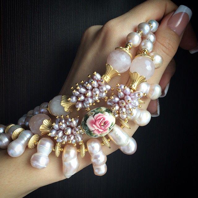 """Купить Браслет """"Эмили"""" - бледно-розовый, браслет из жемчуга, розовый жемчуг, лиловый жемчуг"""