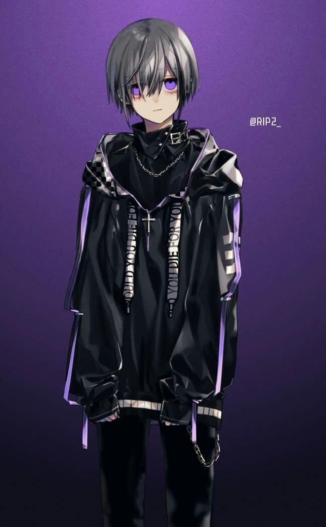 Anime Boy Grey Hair And Dark Anm Anime Boy Anime Anime