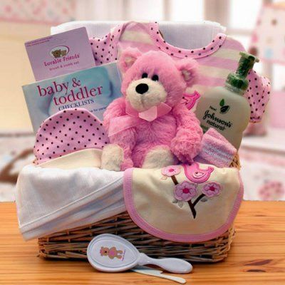 Organic New Baby Basics Gift Baskets - Pink - 890532-P