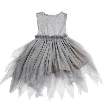 Gray Kids Girl Princess Sleeveless Dress Toddler Vintage Wedding Party Pageant Flower Bow Tulle Tutu at Banggood