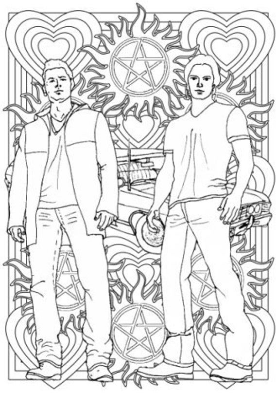 Supernatural Colouring For Grown Ups Sam And Dean Winchester Superhero Coloring Pages Coloring Pages Love Coloring Pages