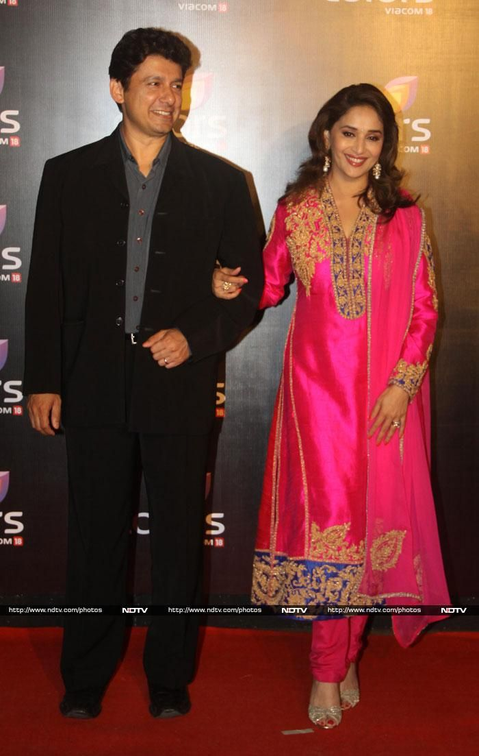 Madhuri Dixit and her husband at Colors party
