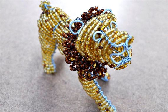 African beaded lion  African craft bead wire by akwaabaAfrica, $15.00
