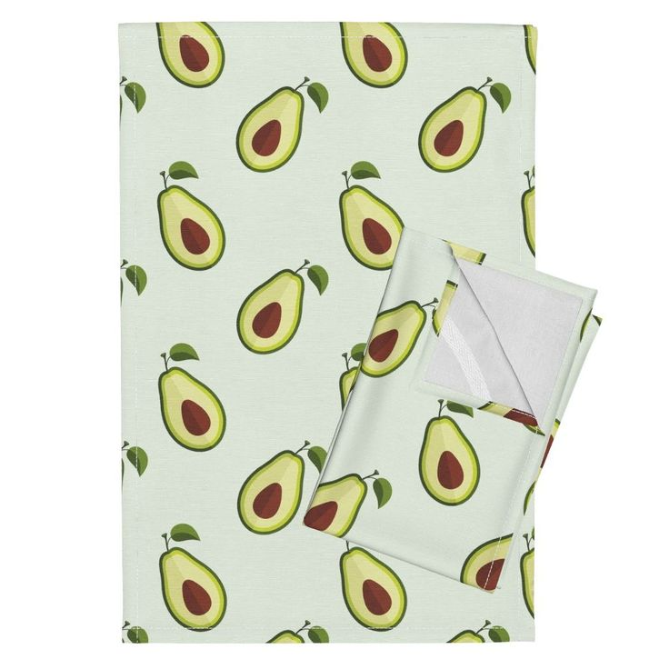 Orpington Tea Towels featuring Ripe avocado slices pattern by milagrosvita | Roostery Home Decor