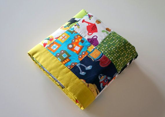Modern Patchwork Fleece Baby Quilt - Baby Blanket - Baby Boy - Baby Shower Gift - Ready to Ship - Can be Personalized - Robots - Camping