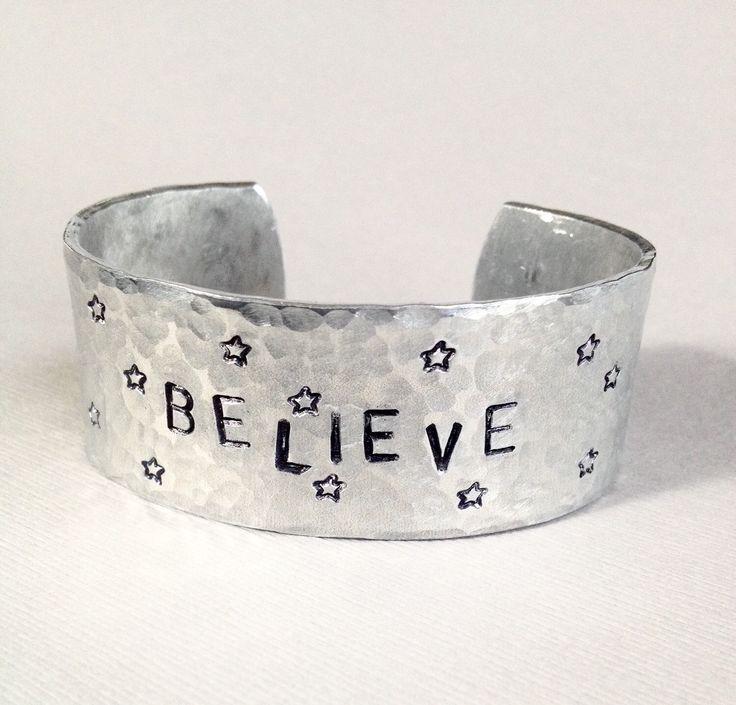 BELIEVE Motivational Cuffs - Metal Stamped Bracelet Cuff - Believe in Christmas - Believe Jewelry - jewellery - Bangle Cuff Bracelet by JewelryWithWords on Etsy https://www.etsy.com/listing/253327121/believe-motivational-cuffs-metal-stamped