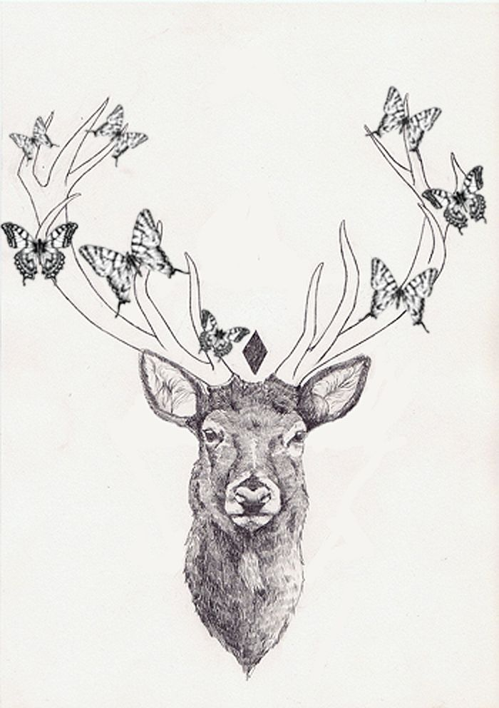 flowers instead of butterflies and leaves/ or the antlers as tree branches