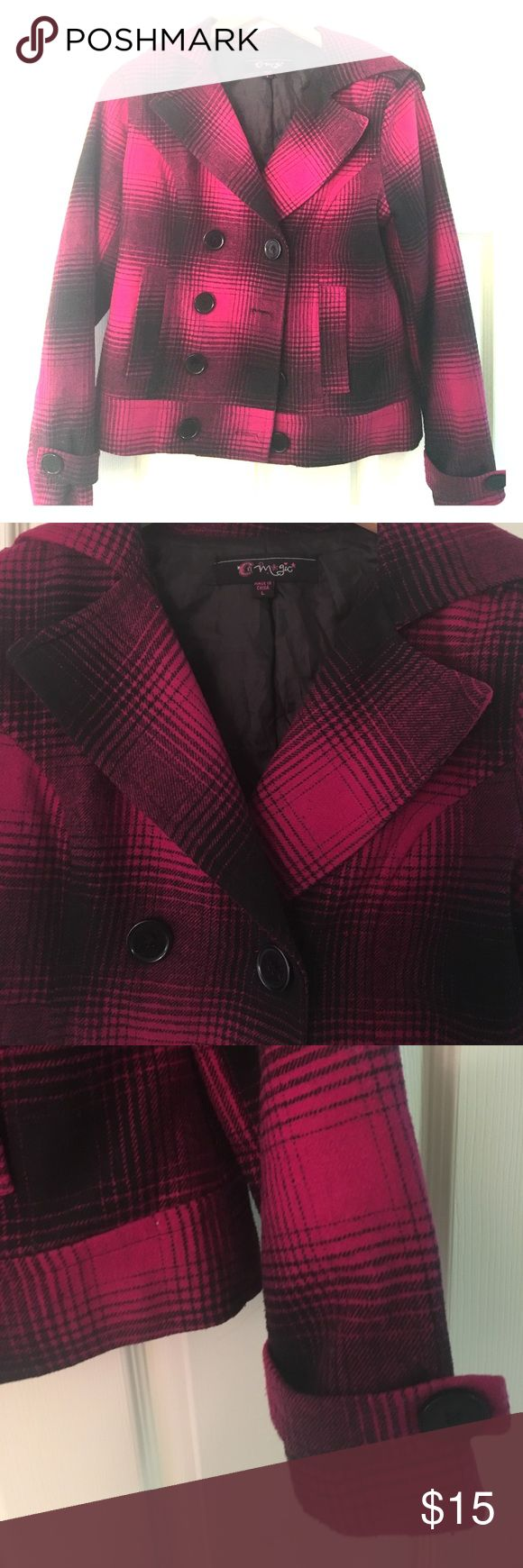 Black/Fuschia Peacoat Black/Fuschia Woman's Plaid Peacoat. Size L Jackets & Coats Pea Coats