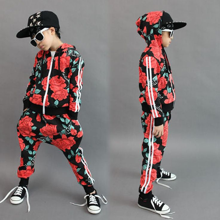 2015 neue mode frühjahr herbst kinder kleidung gesetzt kostüme sweatshirt blume streifen Hip-Hop pluderhosen kinder sportbekleidung(China (Mainland))