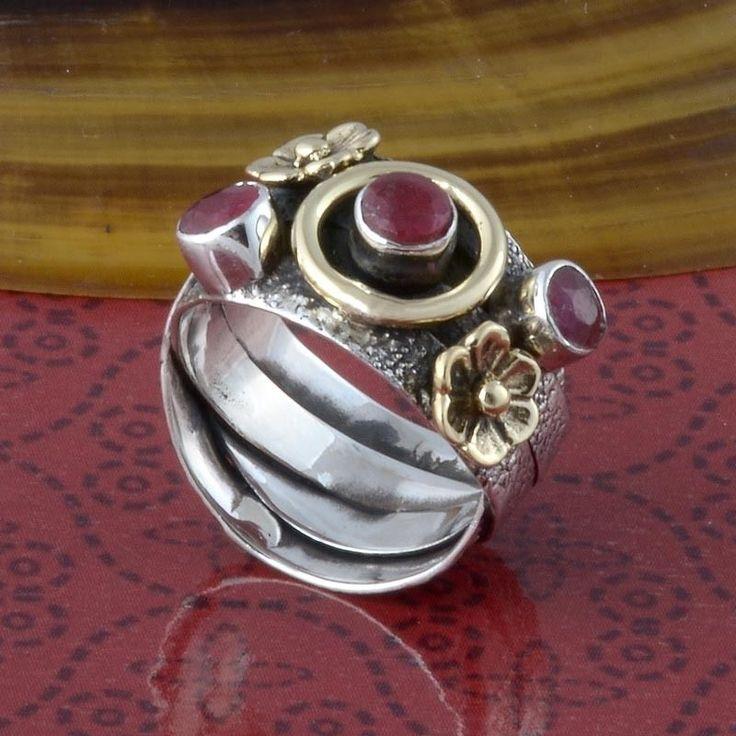 925 HANDMADE STERLING SILVER RUBY RING 5.38g DJR3296 #Handmade #Ring