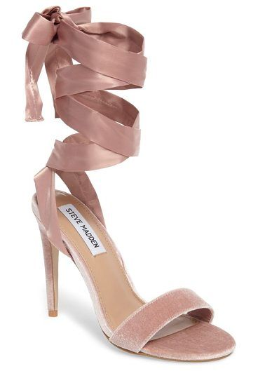 9982725680e promise sandal by Steve Madden. The satiny straps on this velvet stiletto  sandal wrap around in ballerina fashion before tying in a bow for a sweet…