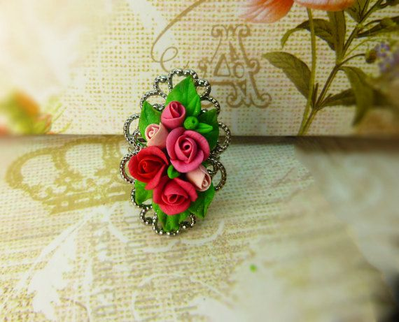 Flower ring Multicolored ring Jewelry rose Rose ring Cute ring Gift for women Size 7-8 (adjustable)
