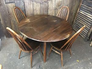 VINTAGE ERCOL TABLE SHABBY CHIC DISTRESSED RUSTIC MID CENTURY + 4 CHAIRS | eBay