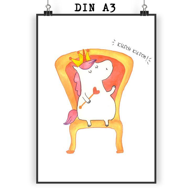 Poster DIN A3 Einhorn König aus Papier 160 Gramm  weiß - Das Original von Mr. & Mrs. Panda.  Jedes wunderschöne Poster aus dem Hause Mr. & Mrs. Panda ist mit Liebe handgezeichnet und entworfen. Wir liefern es sicher und schnell im Format DIN A3 zu dir nach Hause.    Über unser Motiv Einhorn König  Das süße Einhorn auf dem Thron ist genau das richtige Geschenk für die beste Freundin. Denn manchmal würden wir doch alle gerne mit einer Krone auf einem Thron sitzen und Leuten, die uns nerven…