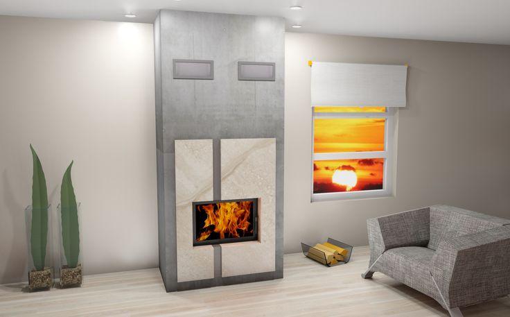 Projekt kominka na bazie wkładu Volcano AT  #fireside #fireplace #kominek #projekt