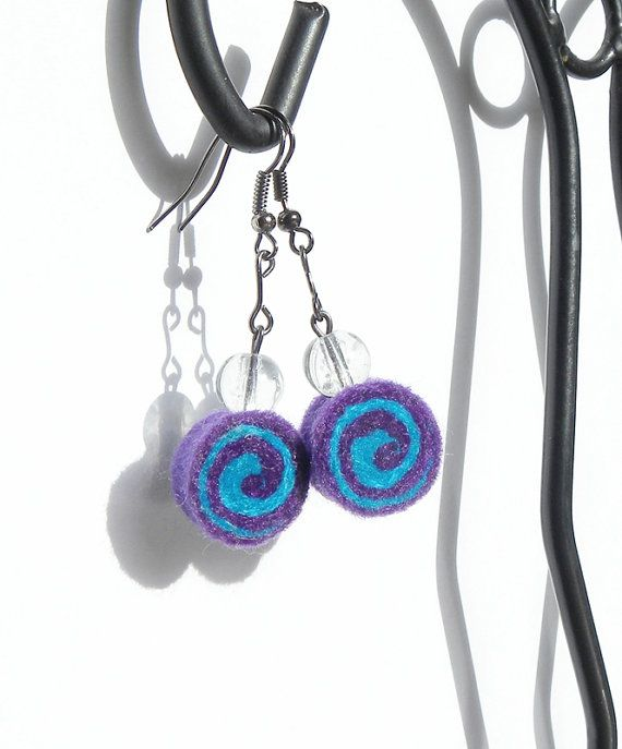 Earrings  OOAK felted rolls no 98 felt wool by MarudaFelting