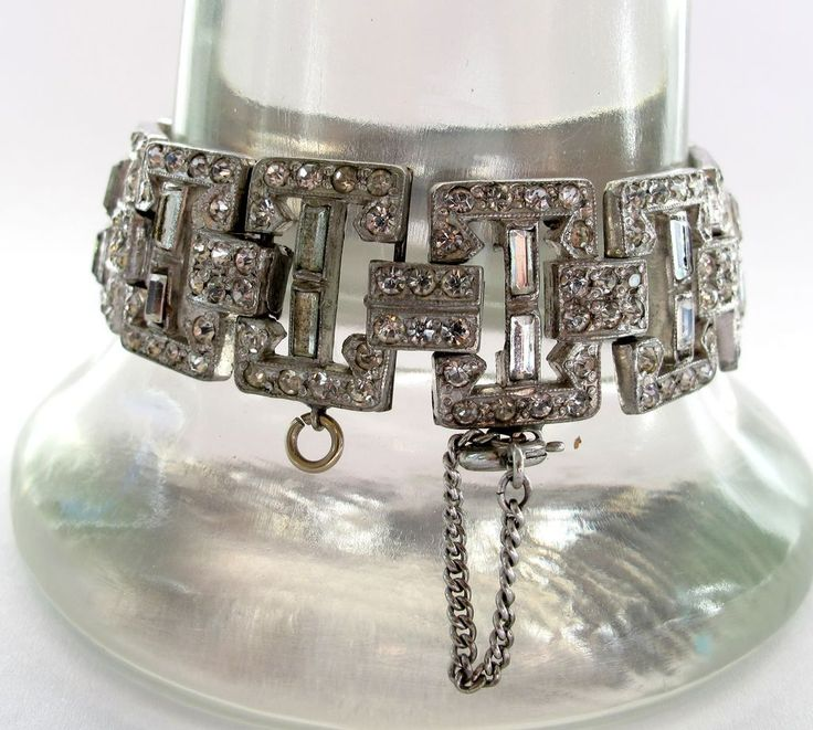 #2691 Pot Metal Rhinestone Deco Bracelet 1930 Exclusively at Lee Caplan Vintage Collection on RubyLane