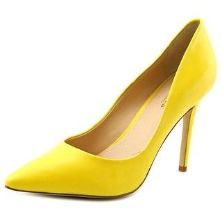 Pointed Toe Yellow Leather Heels