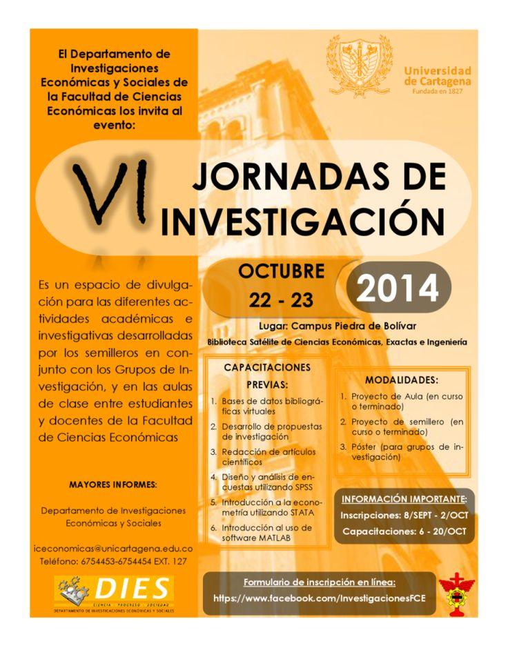 Jornadas de Investigación Facultad de Ciencias Económicas 2014 #Unicartagena #CienciasEconómicas