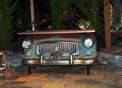Repurposed antique CAR BAR!