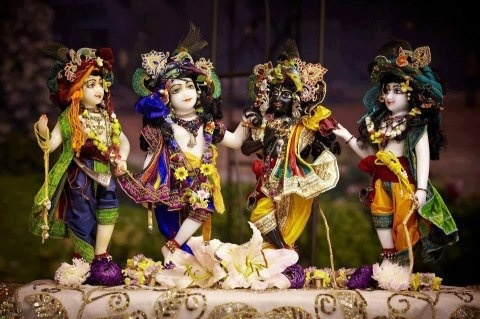 Krishna, Balarama and cowherd friends. Sweet.