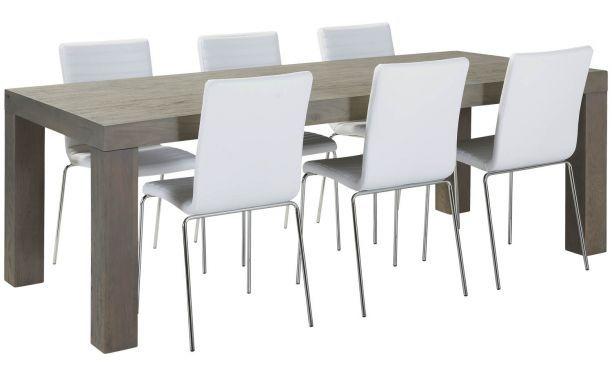 Eetkamertafel Double is een trendy eiken eetkamertafel die afgewerkt is in een bijzonder stijlvolle grijstint. Een gezellig model voor een z...
