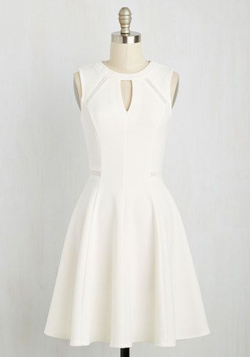 Moxie Must-Have Dress in White - White, Solid, Daytime Party, A-line, Sleeveless, Spring, Knit, Good, Mid-length, Variation, Party, Fit & Flare