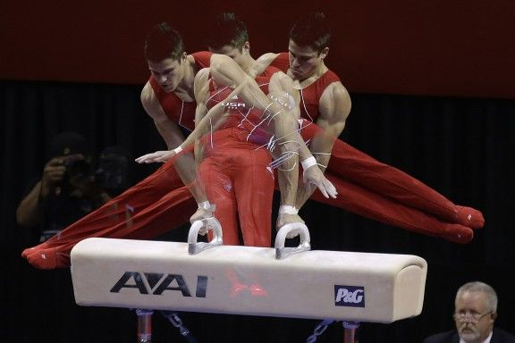 Chris Brooks competes on the pommel horse during the final round of the men's Olympic gymnastics trials on Saturday, June 30, 2012, in San Jose, Calif.