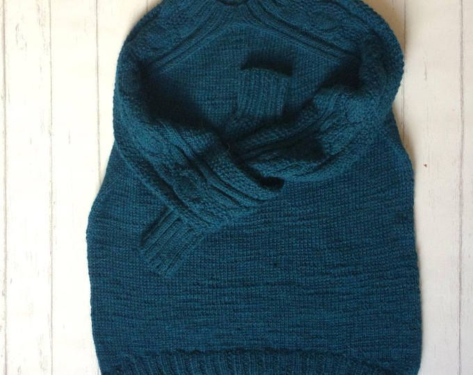 Alpaca Pullover, Oversized Alpaca Pullover, Knitted Alpaca Sweater, Womans Jumper, Ocean Blue Pullower