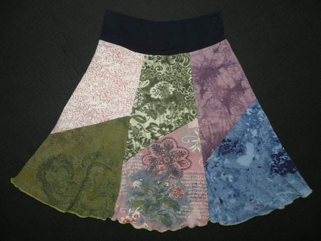 Recycled t-shirts made into a skirt. I'd like it longer. Makes my inner hippie happy.