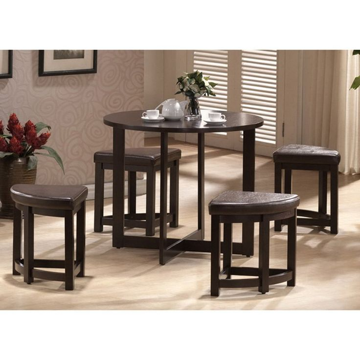 Rochester Brown Modern Bar Table Set With Nesting Stools