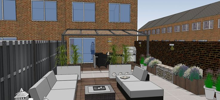 Tuinontwerp kleine achtertuin met veranda