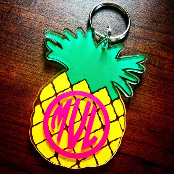 Pineapple Monogram Keychain by MagicalMonograms on Etsy