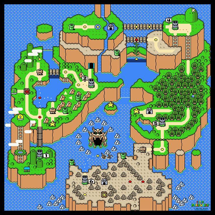 "Super Mario World Main Overworld Poster Map 24"" x 24"" for the Super Nintendo (SNES)"