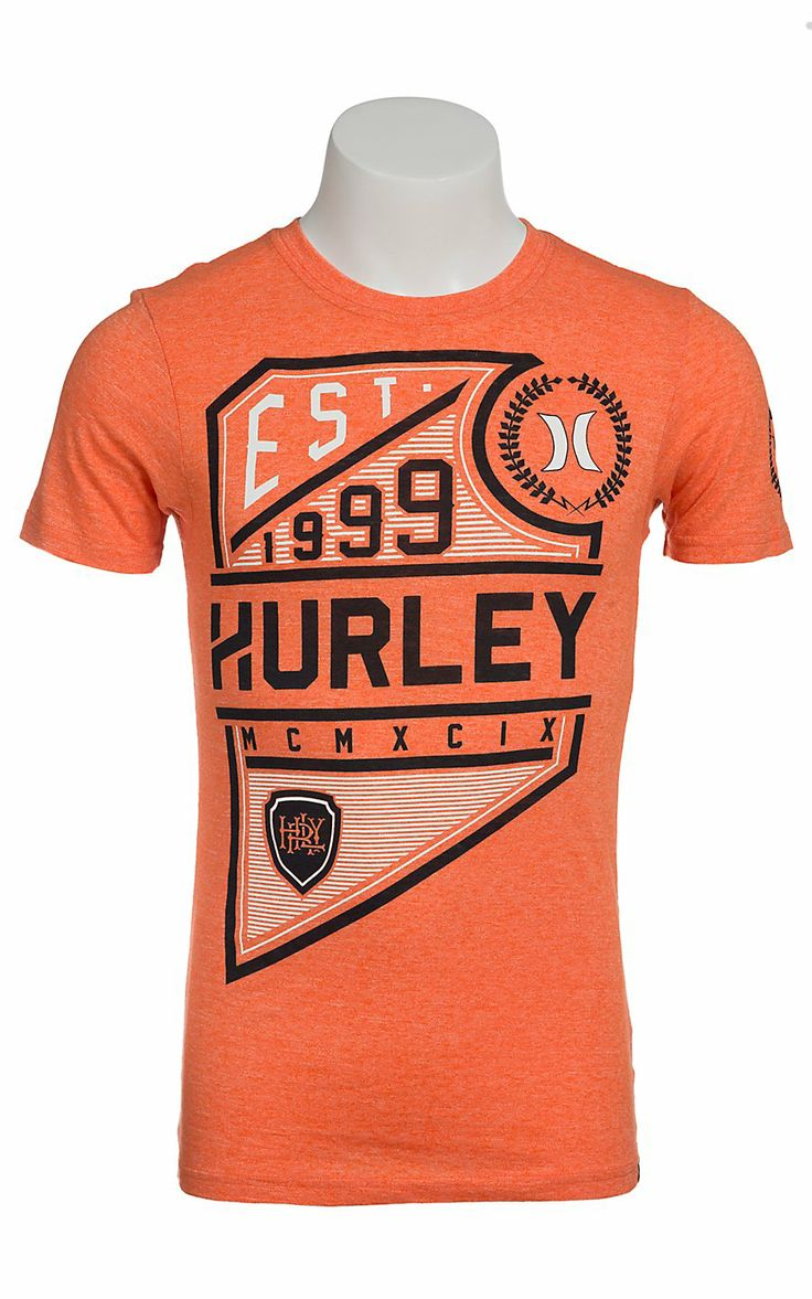 Hurley Men's Move Up Atomic Orange with Black and White Logo Short Sleeve Tee