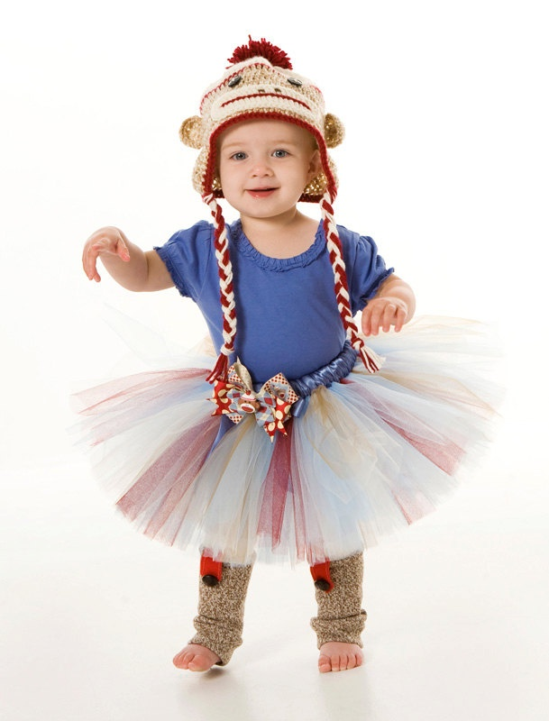 Tutu Skirt - Halloween or Birthday Costume - Silly Sock Monkey - 3-4 Toddler  sc 1 st  Pinterest & 15 best Cute Kids Halloween Costumes images on Pinterest | Baby ...