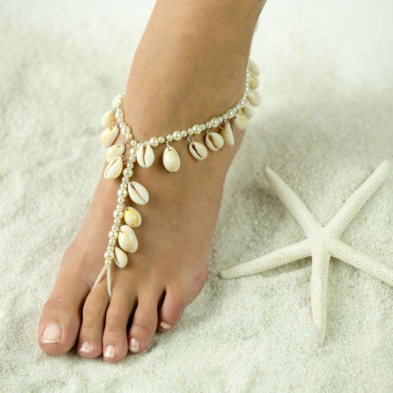 Real zee schelpen strand thema Barefoot Sandals bruiloft