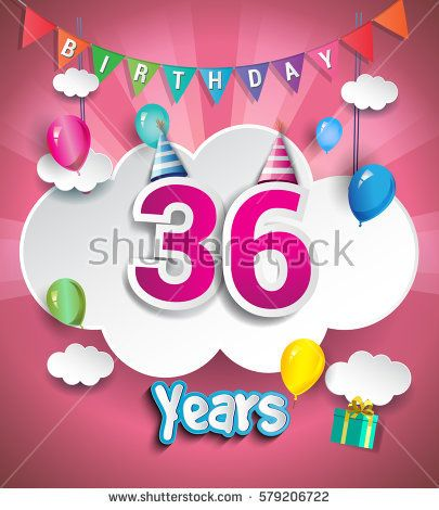 36th Anniversary Celebration Design, with clouds and balloons. using Paper Art Design Style, Vector template elements for your, thirty six years birthday celebration party.