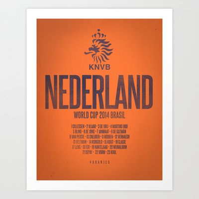 Nederland World Cup 2014 Celebrative Artwork Art Print by The Soccer Supply