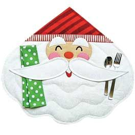 Merry Santa Place Mat & Napkin Pattern