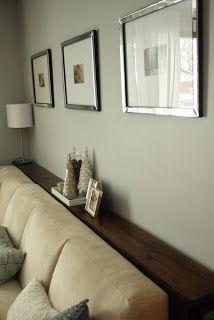 simple DIY sofa tables. Sofa table behind couch and against the wall, instead of using end tables.
